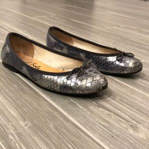 French Sole Silver flats, size 8
